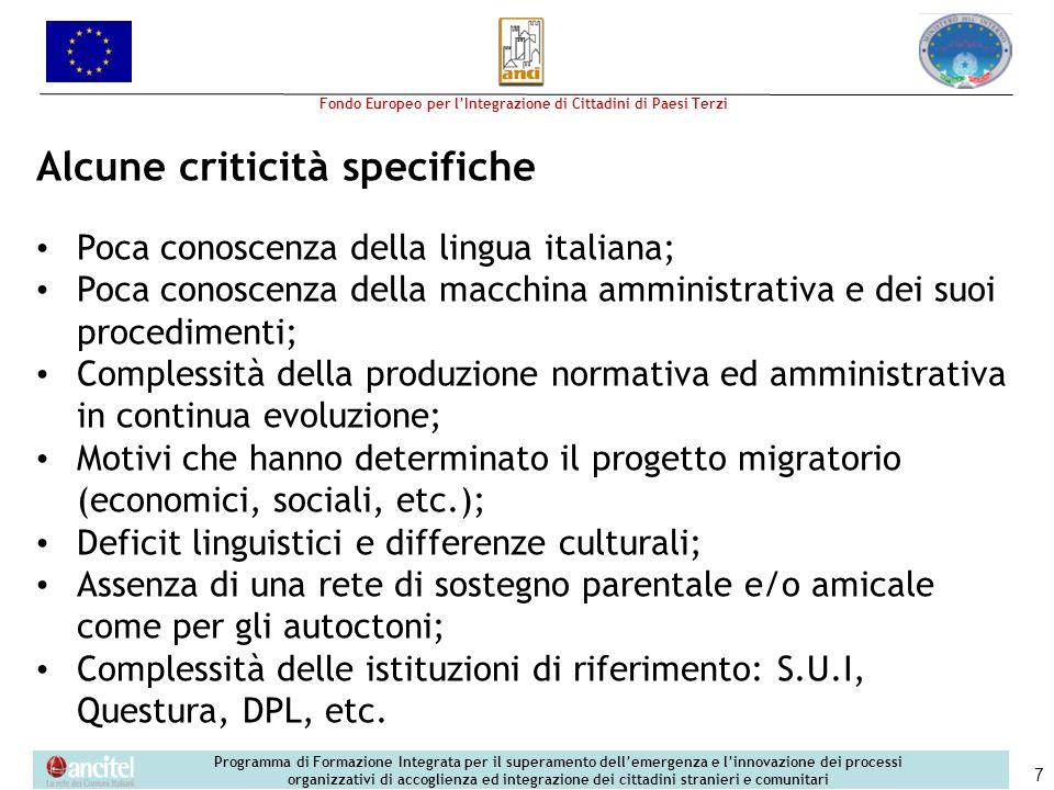 Alcune criticità specifiche