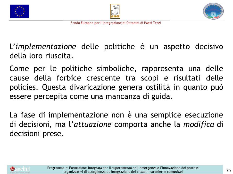 L'implementazione delle politiche è un aspetto decisivo della loro riuscita.