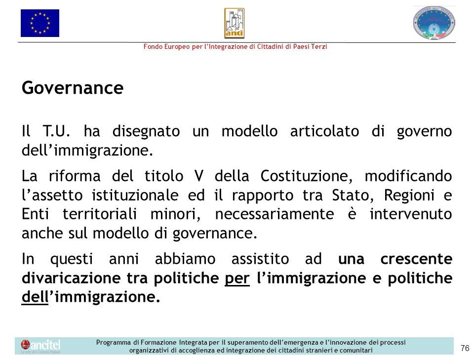 Governance Il T.U. ha disegnato un modello articolato di governo dell'immigrazione.