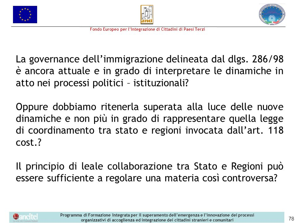 La governance dell'immigrazione delineata dal dlgs