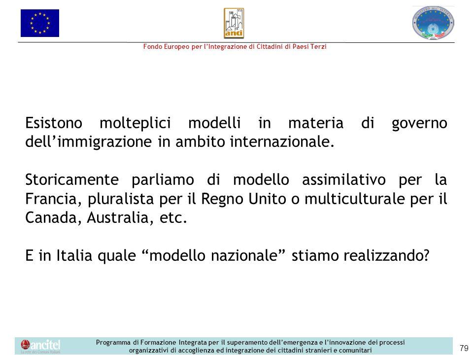 E in Italia quale modello nazionale stiamo realizzando