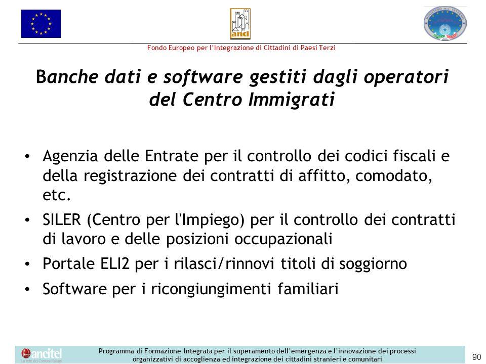 Banche dati e software gestiti dagli operatori del Centro Immigrati