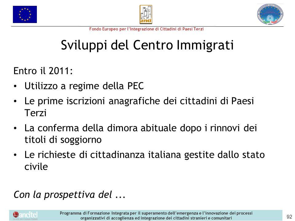 Sviluppi del Centro Immigrati