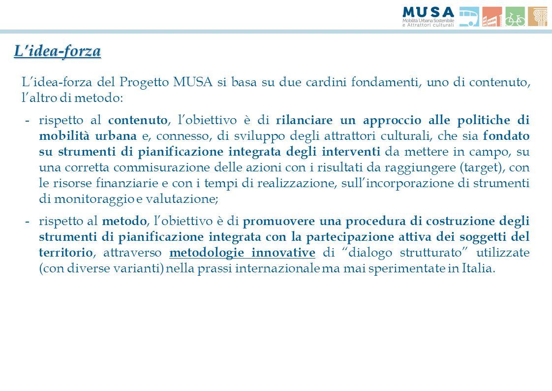L'idea-forza L'idea-forza del Progetto MUSA si basa su due cardini fondamenti, uno di contenuto, l'altro di metodo: