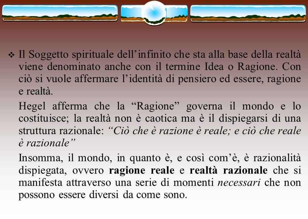 Il Soggetto spirituale dell'infinito che sta alla base della realtà viene denominato anche con il termine Idea o Ragione. Con ciò si vuole affermare l'identità di pensiero ed essere, ragione e realtà.