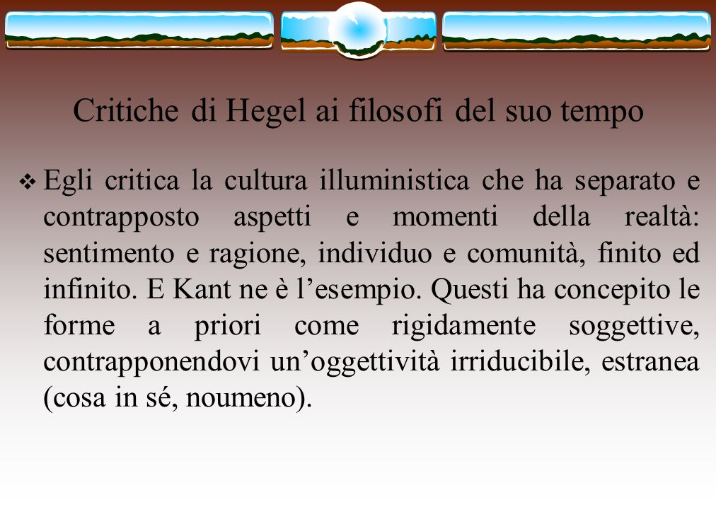 Critiche di Hegel ai filosofi del suo tempo