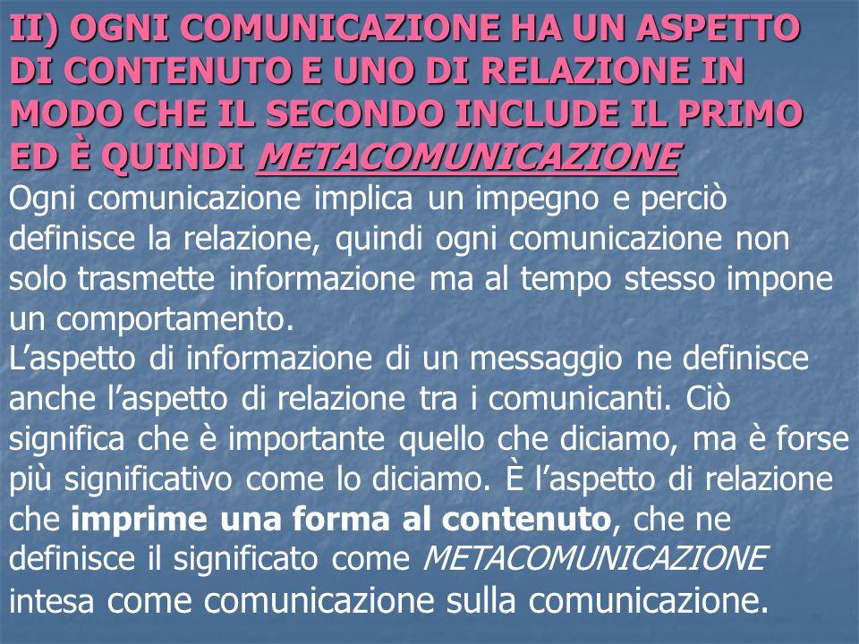 II) OGNI COMUNICAZIONE HA UN ASPETTO DI CONTENUTO E UNO DI RELAZIONE IN MODO CHE IL SECONDO INCLUDE IL PRIMO ED È QUINDI METACOMUNICAZIONE