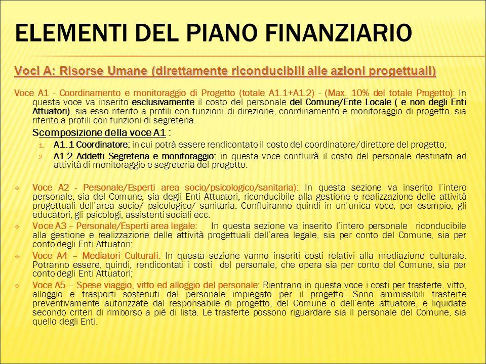 ELEMENTI DEL PIANO FINANZIARIO