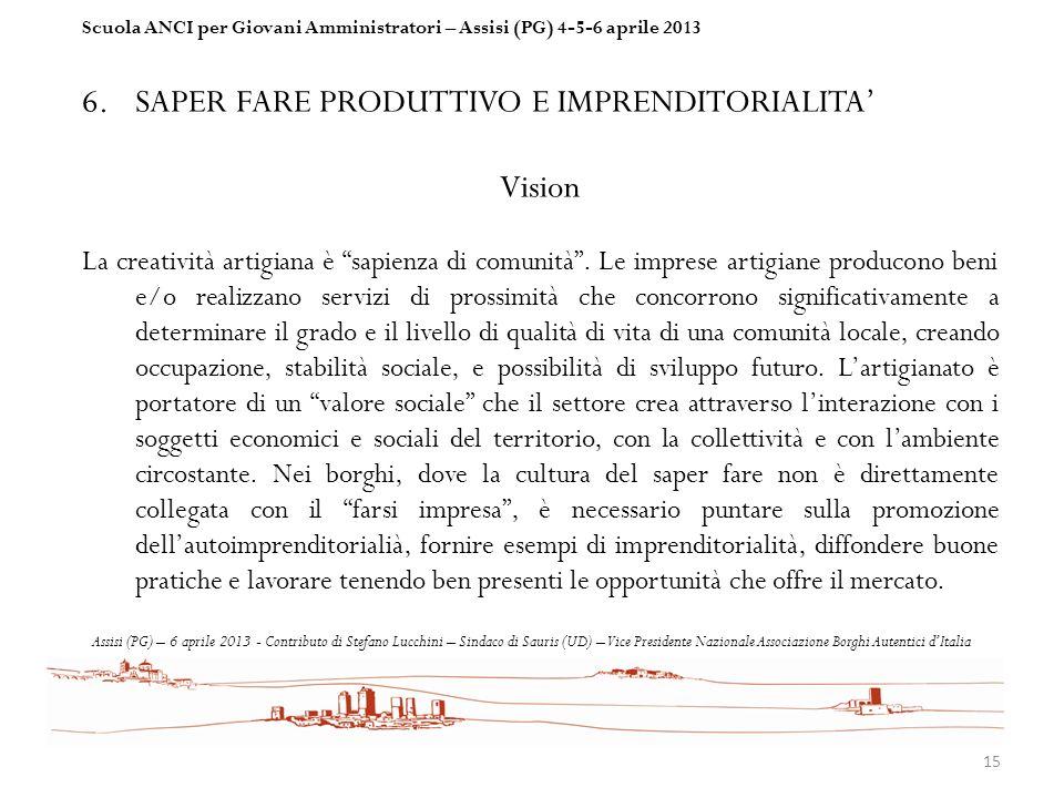 SAPER FARE PRODUTTIVO E IMPRENDITORIALITA' Vision
