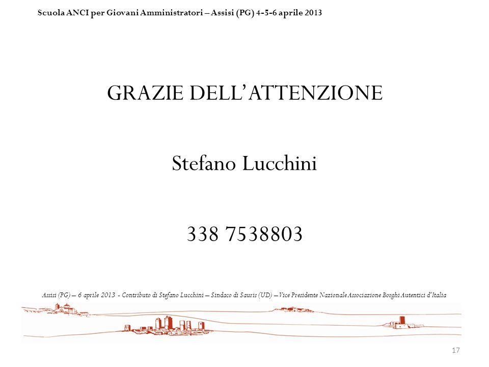 GRAZIE DELL'ATTENZIONE Stefano Lucchini 338 7538803