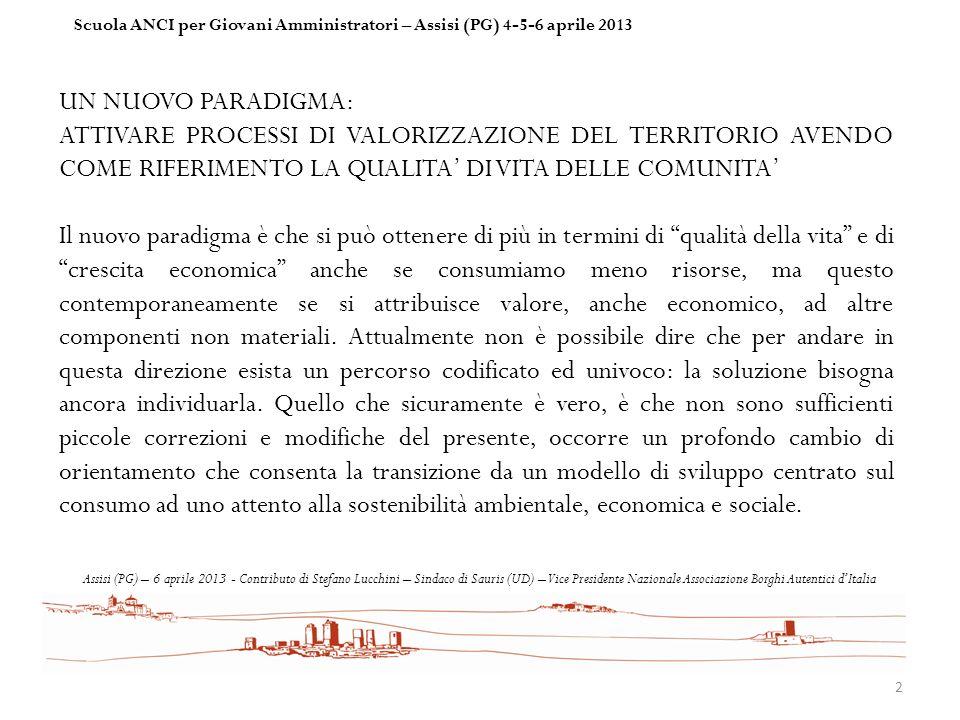 Scuola ANCI per Giovani Amministratori – Assisi (PG) 4-5-6 aprile 2013
