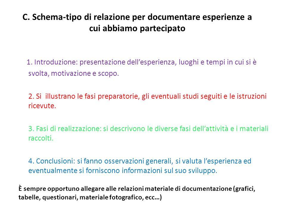 C. Schema-tipo di relazione per documentare esperienze a cui abbiamo partecipato
