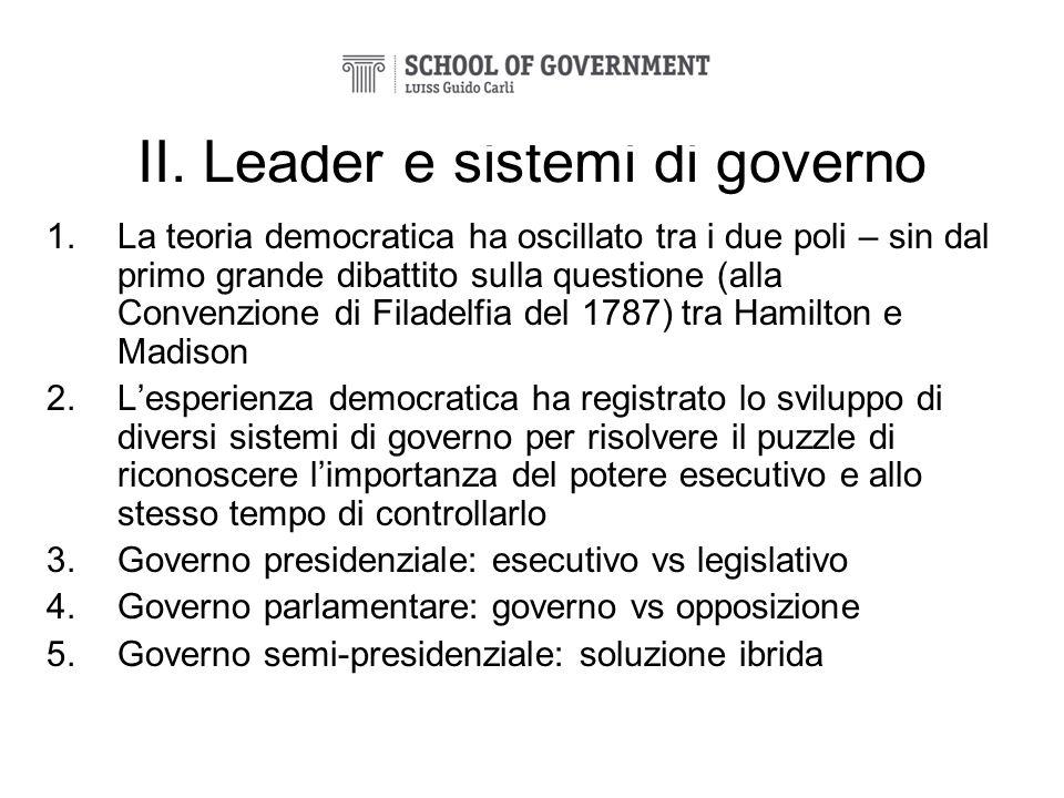 II. Leader e sistemi di governo