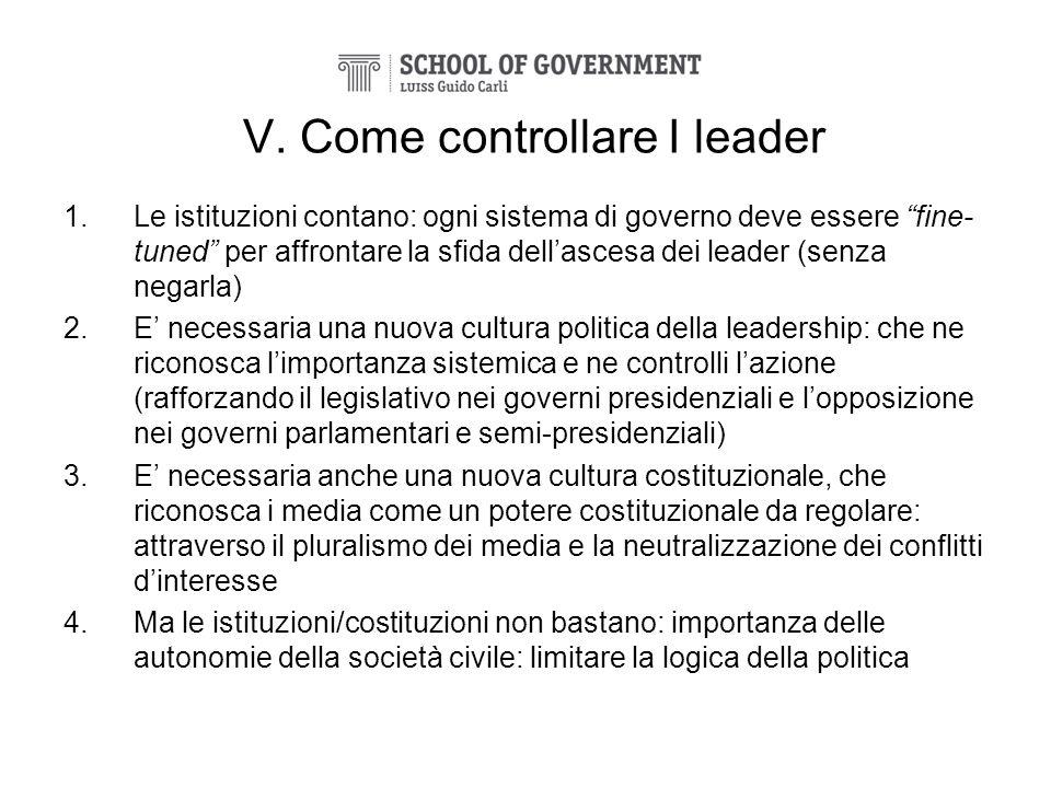 V. Come controllare I leader