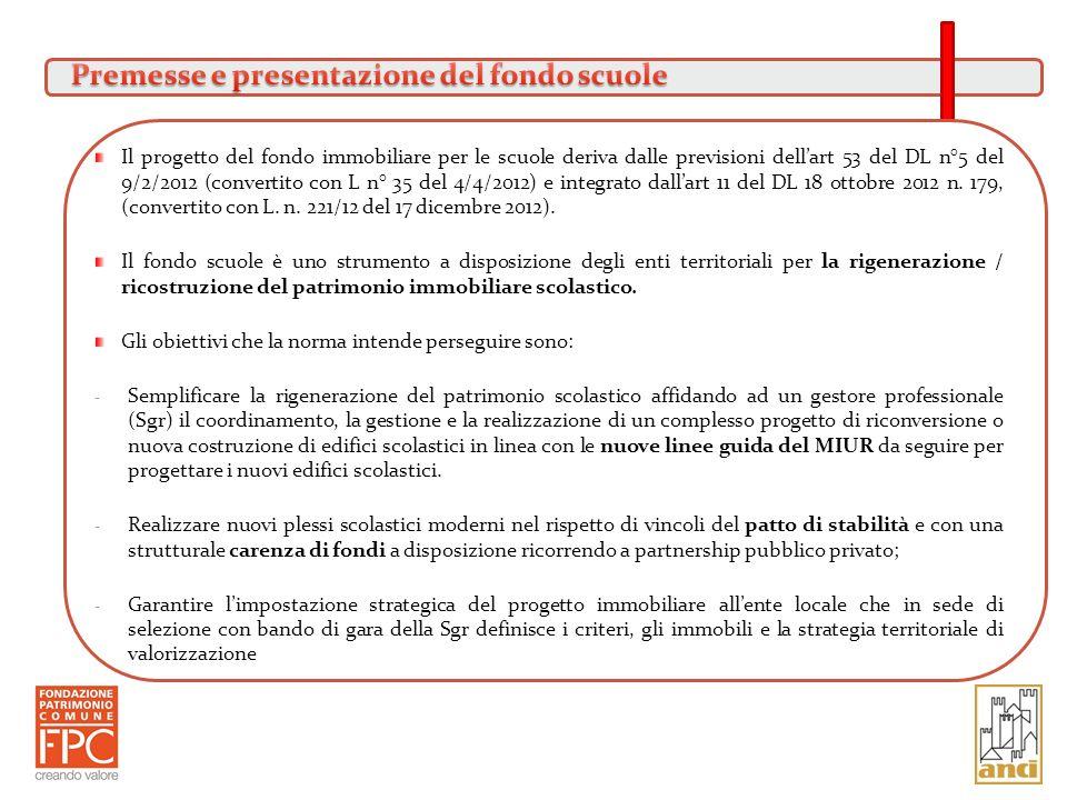 Premesse e presentazione del fondo scuole
