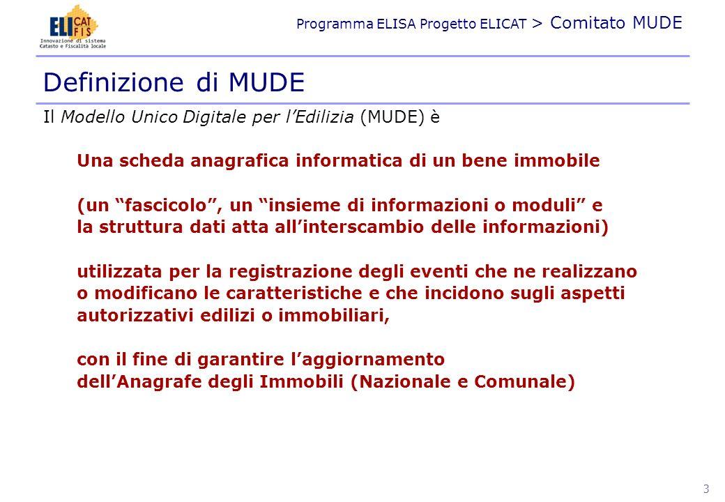 Definizione di MUDE Il Modello Unico Digitale per l'Edilizia (MUDE) è