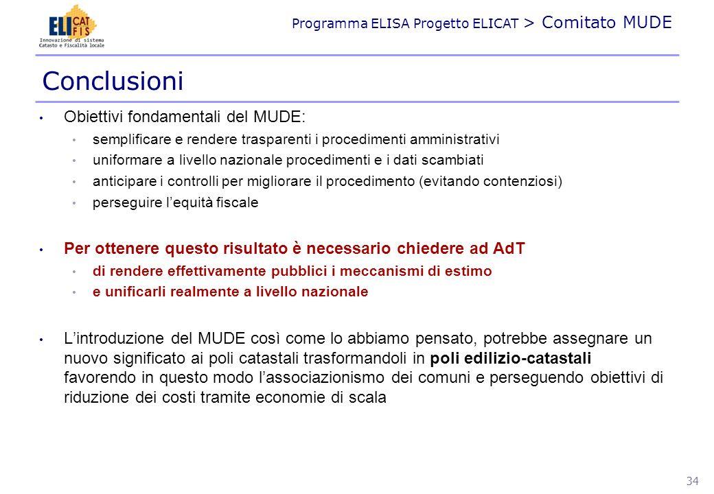 Conclusioni Obiettivi fondamentali del MUDE:
