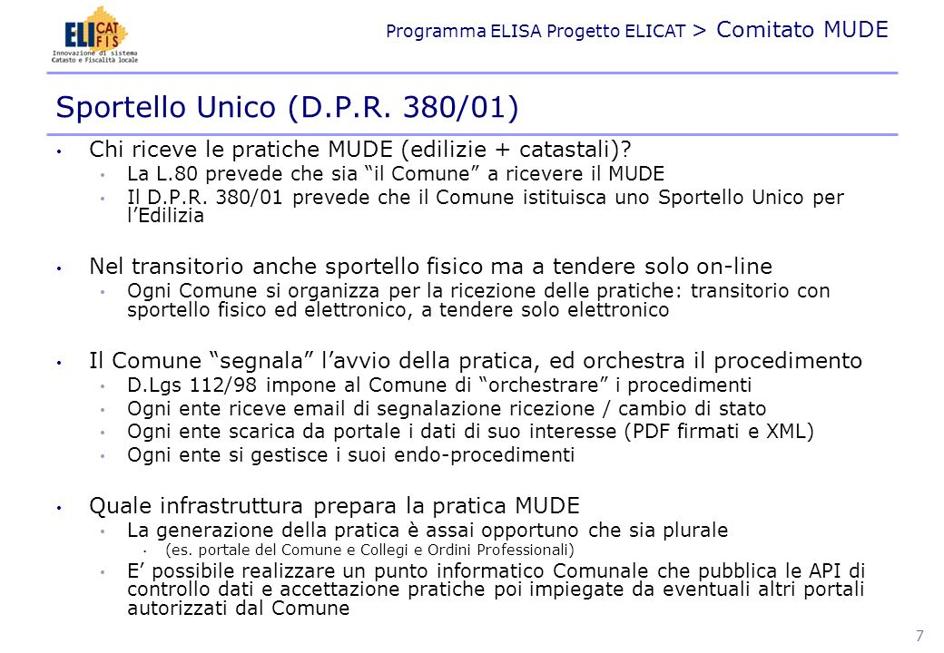 Sportello Unico (D.P.R. 380/01)