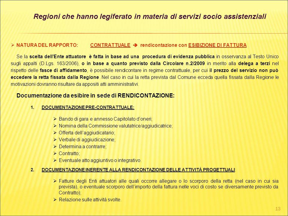 Regioni che hanno legiferato in materia di servizi socio assistenziali