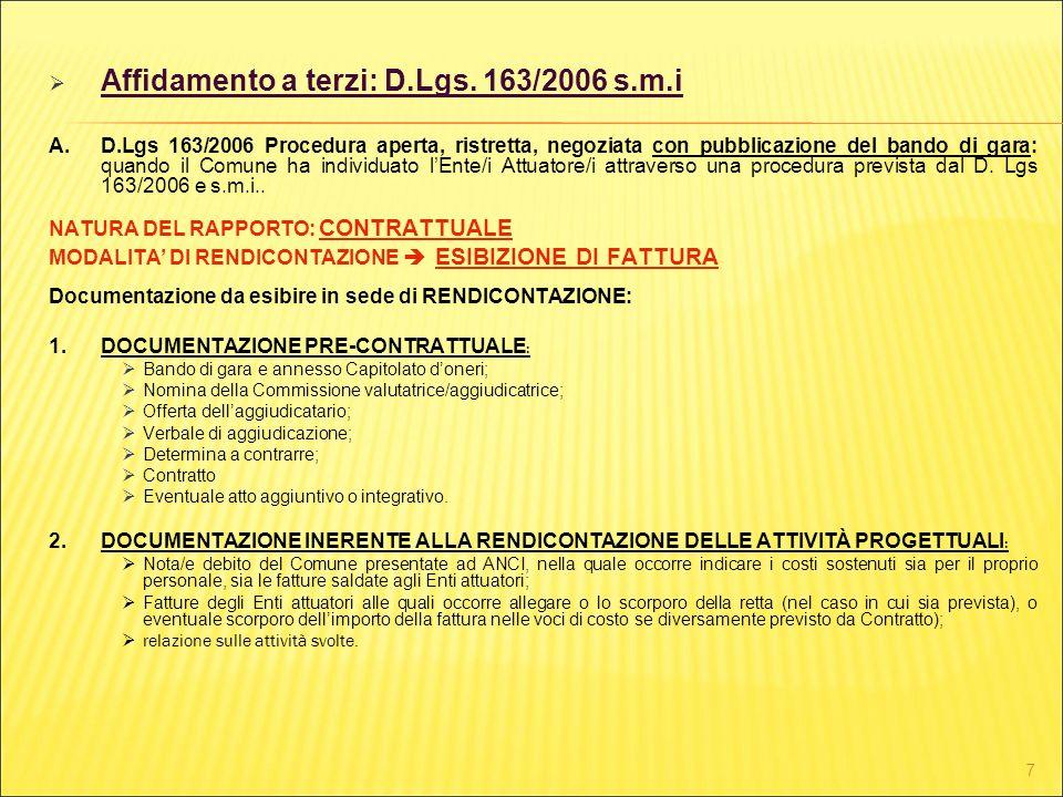 Affidamento a terzi: D.Lgs. 163/2006 s.m.i