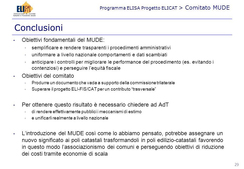 Conclusioni Obiettivi fondamentali del MUDE: Obiettivi del comitato