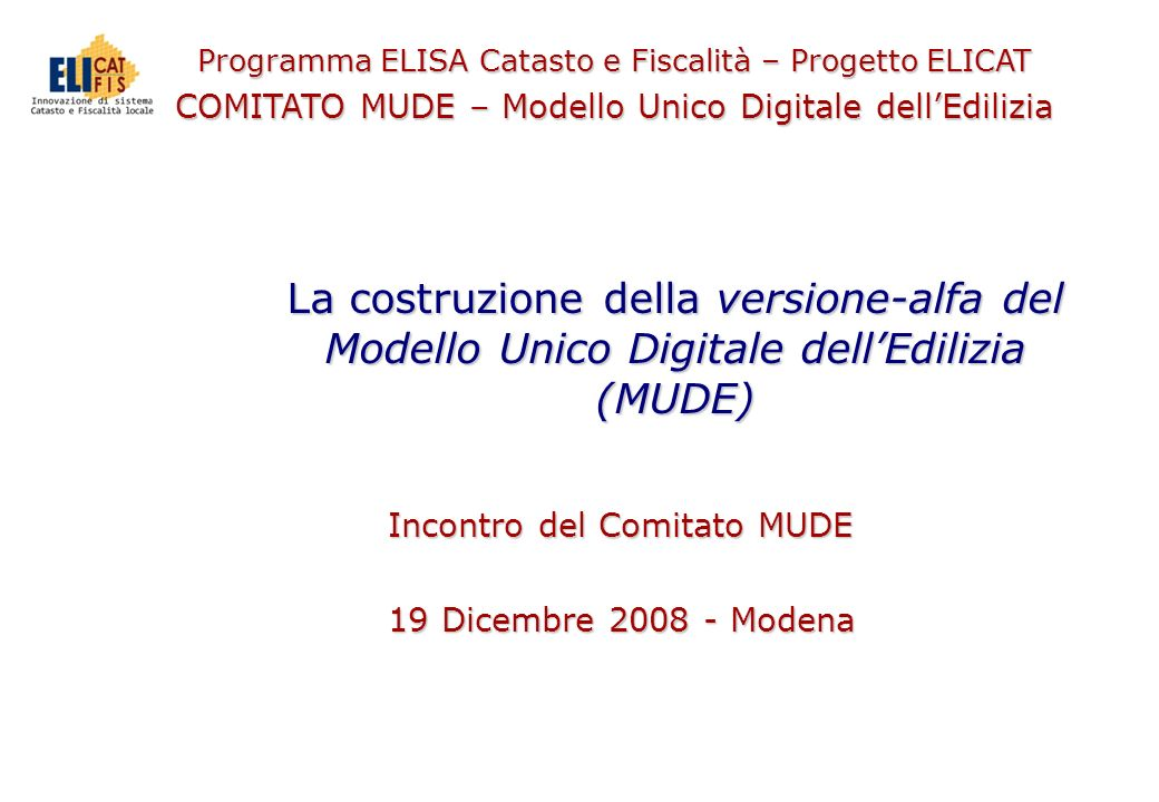 Incontro del Comitato MUDE 19 Dicembre 2008 - Modena