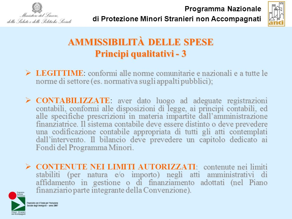 AMMISSIBILITÀ DELLE SPESE Principi qualitativi - 3