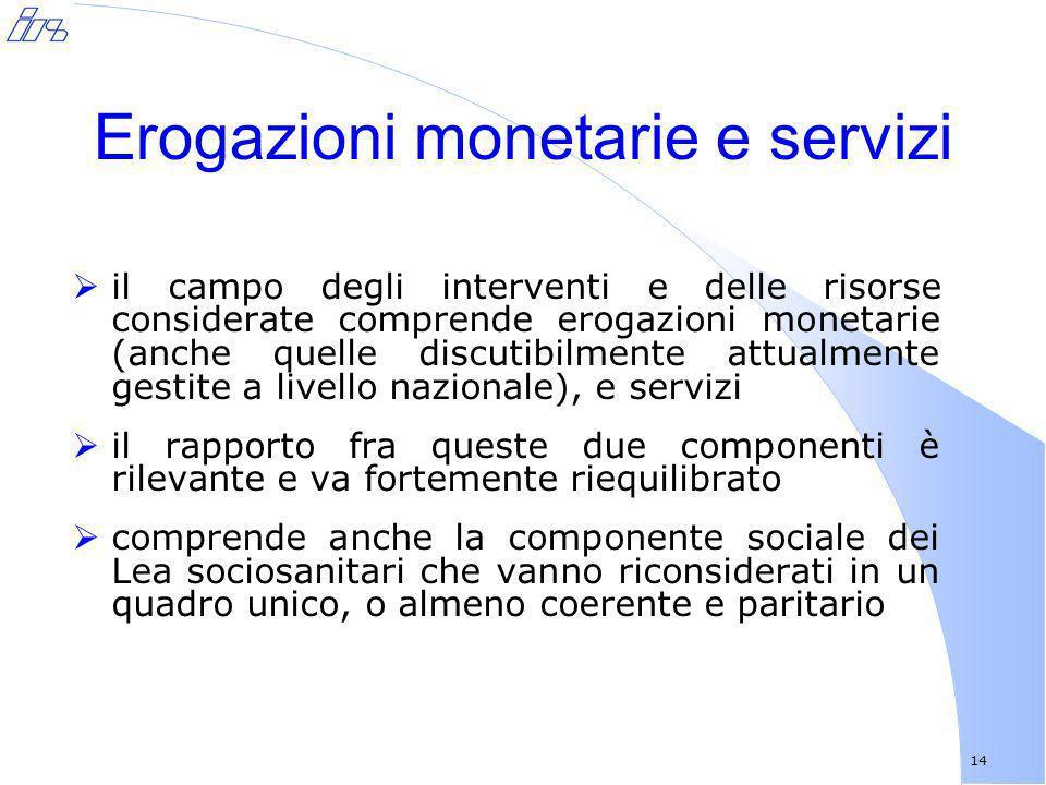 Erogazioni monetarie e servizi