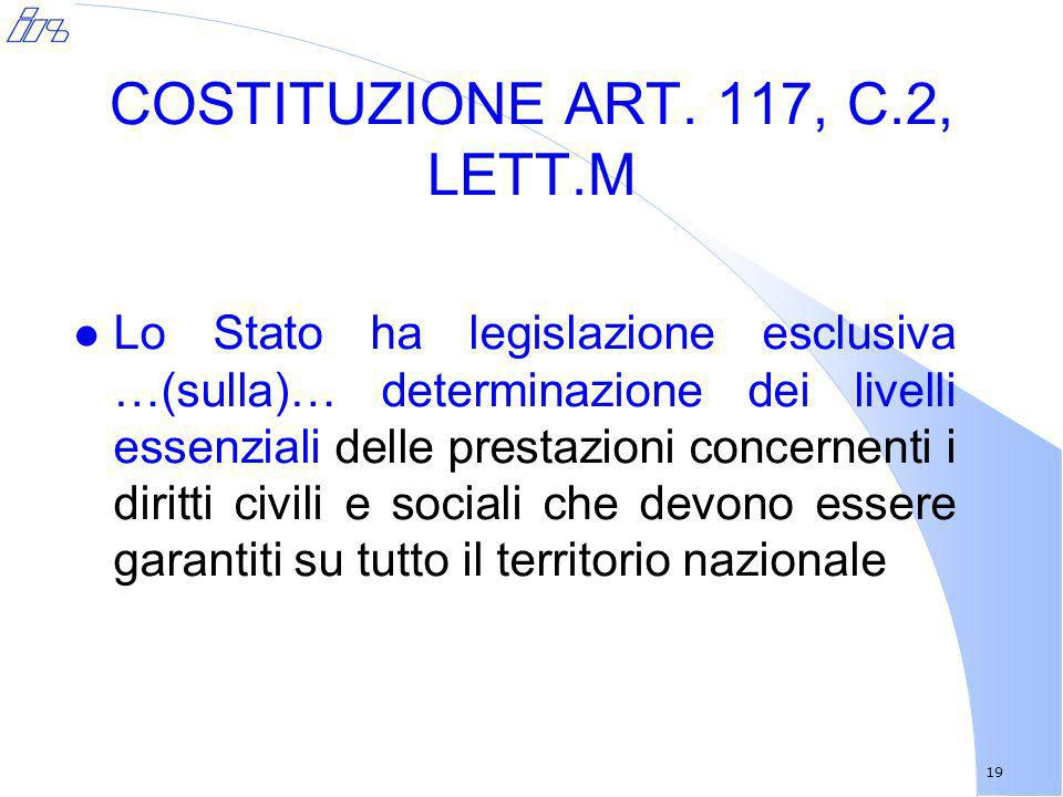 COSTITUZIONE ART. 117, C.2, LETT.M