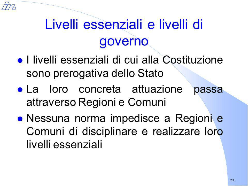 Livelli essenziali e livelli di governo