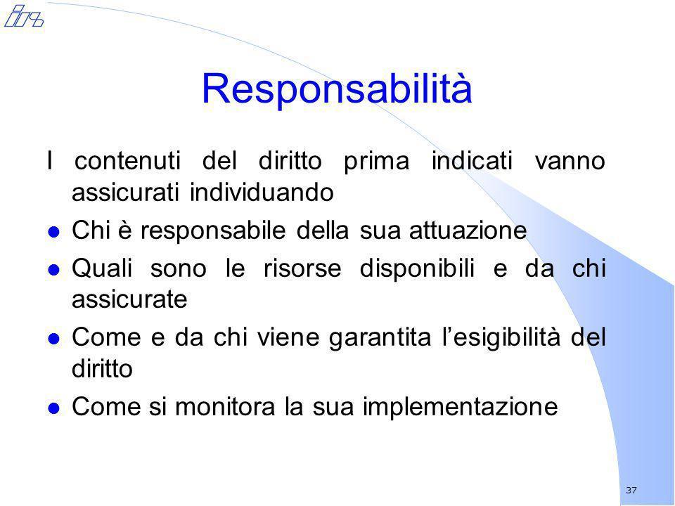 Responsabilità I contenuti del diritto prima indicati vanno assicurati individuando. Chi è responsabile della sua attuazione.