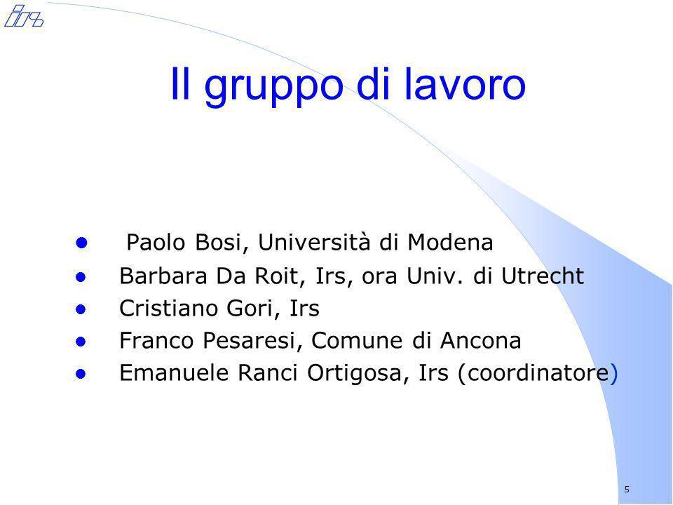 Il gruppo di lavoro Paolo Bosi, Università di Modena