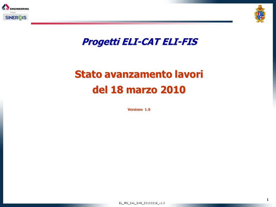 Progetti ELI-CAT ELI-FIS Stato avanzamento lavori