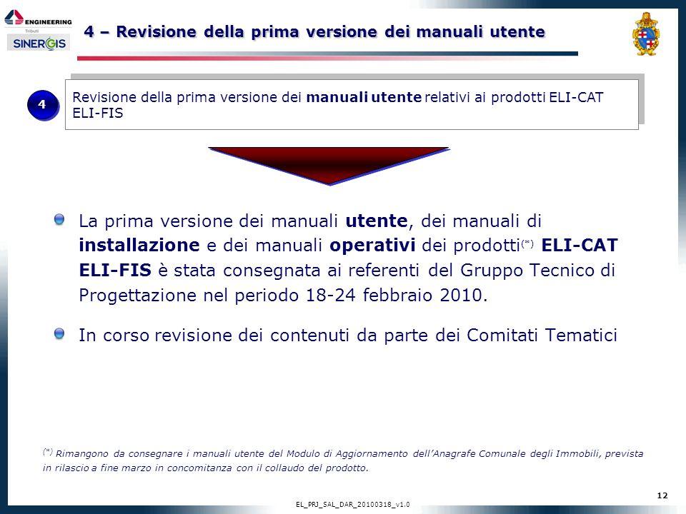 4 – Revisione della prima versione dei manuali utente