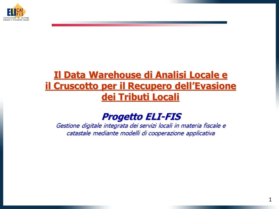Il Data Warehouse di Analisi Locale e