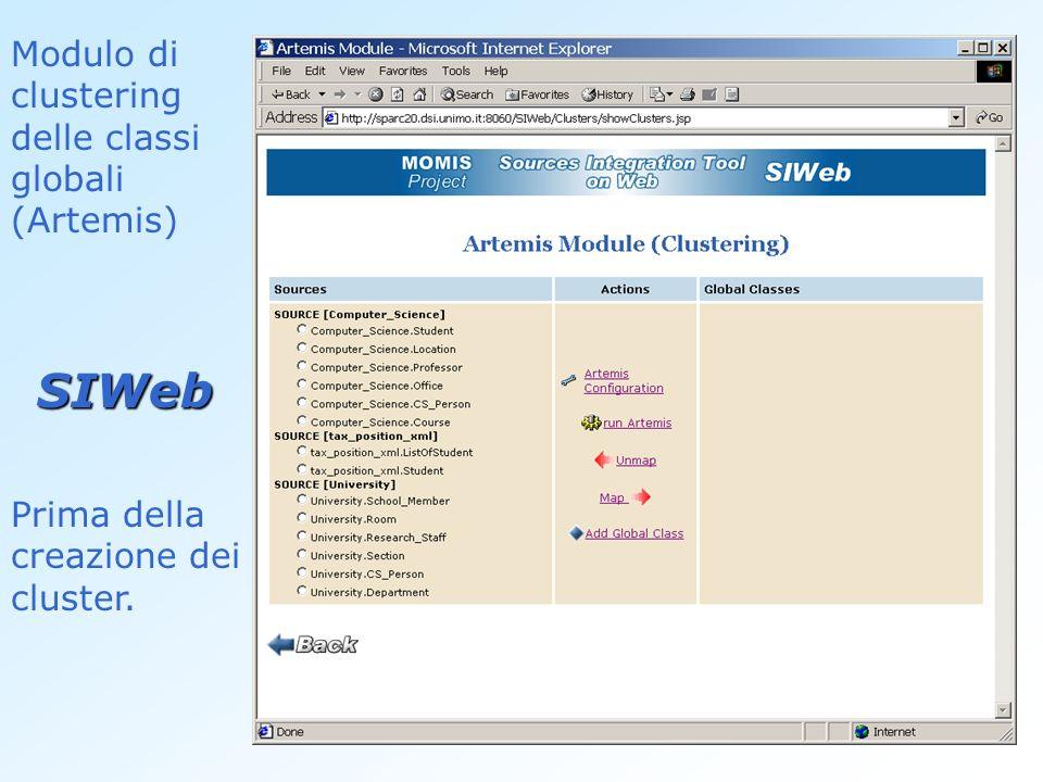 SIWeb Modulo di clustering delle classi globali (Artemis)