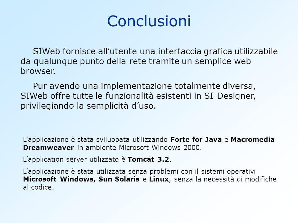 Conclusioni SIWeb fornisce all'utente una interfaccia grafica utilizzabile da qualunque punto della rete tramite un semplice web browser.