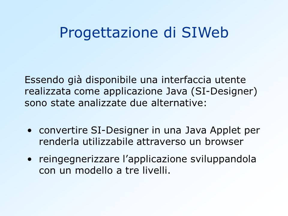 Progettazione di SIWeb
