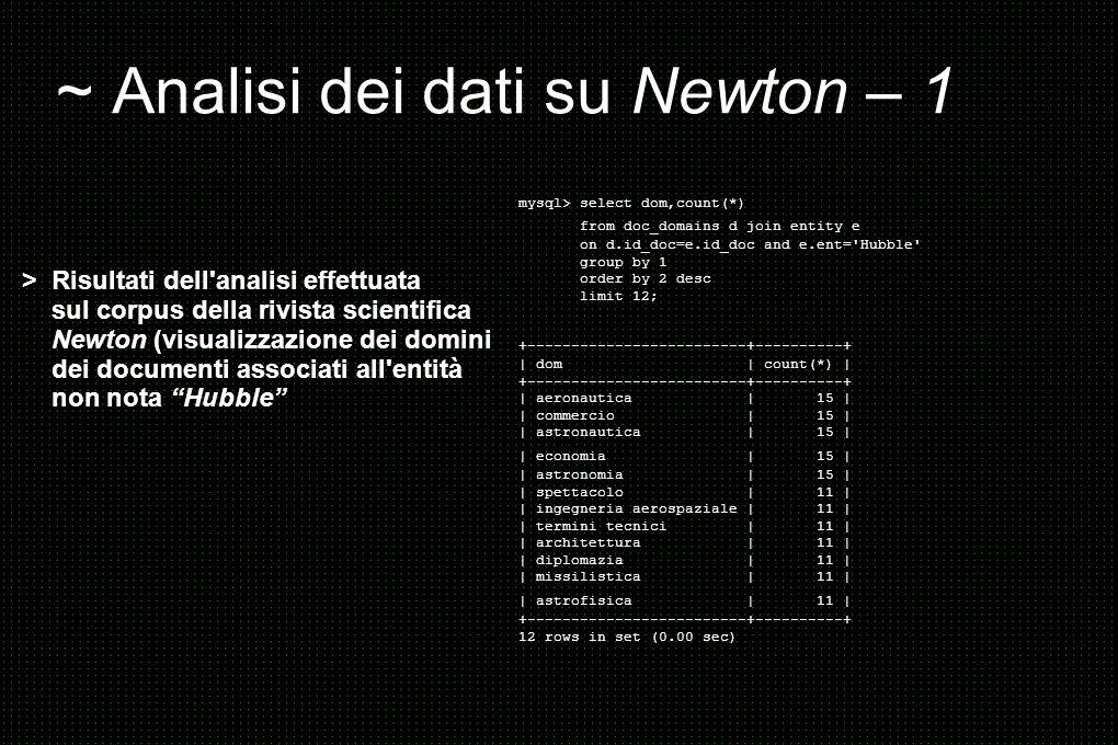 ~ Analisi dei dati su Newton – 1