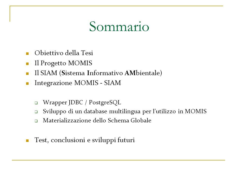 Sommario Obiettivo della Tesi Il Progetto MOMIS