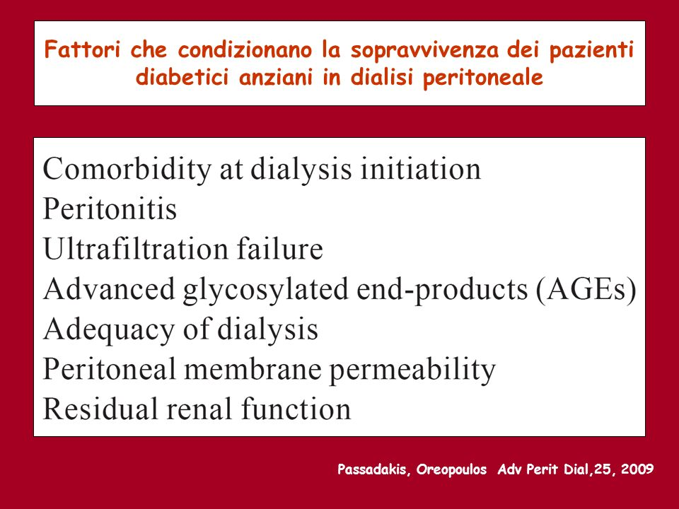 Fattori che condizionano la sopravvivenza dei pazienti diabetici anziani in dialisi peritoneale