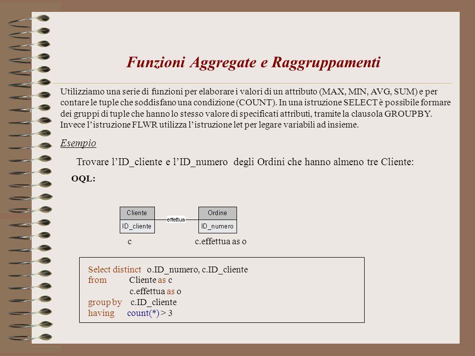 Funzioni Aggregate e Raggruppamenti