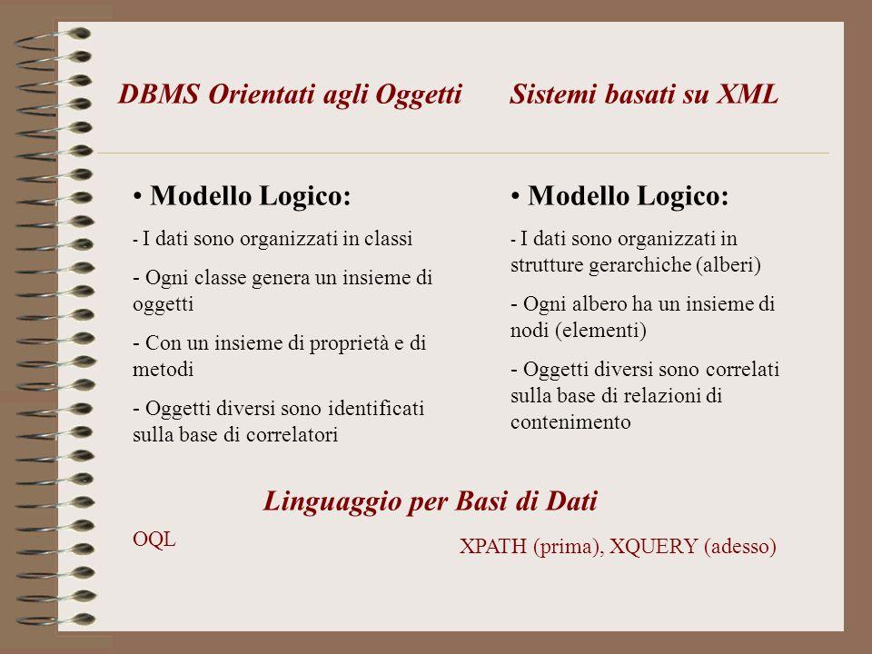 DBMS Orientati agli Oggetti Sistemi basati su XML
