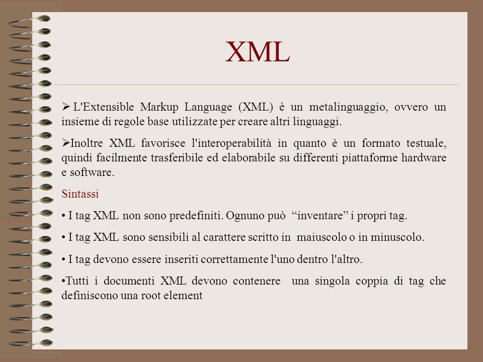 XML L Extensible Markup Language (XML) è un metalinguaggio, ovvero un insieme di regole base utilizzate per creare altri linguaggi.
