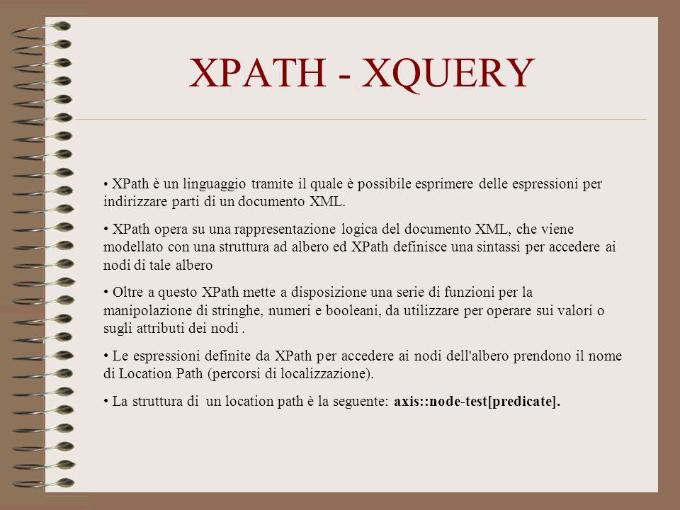 XPATH - XQUERY XPath è un linguaggio tramite il quale è possibile esprimere delle espressioni per indirizzare parti di un documento XML.