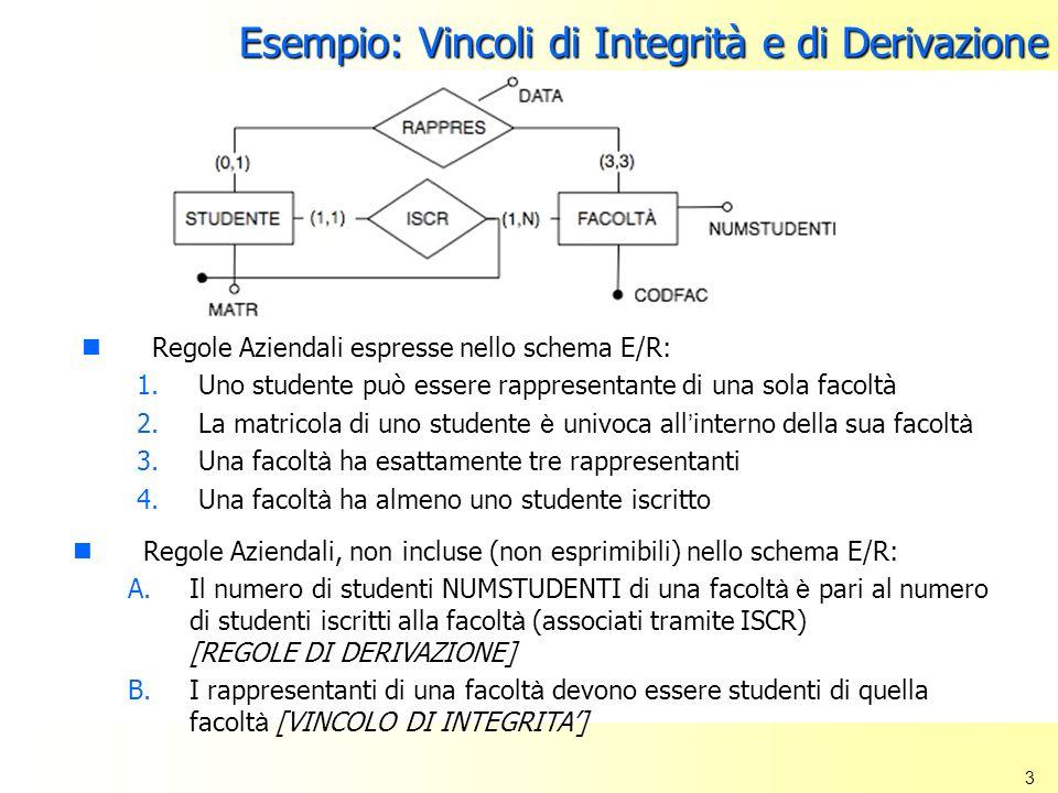 Esempio: Vincoli di Integrità e di Derivazione