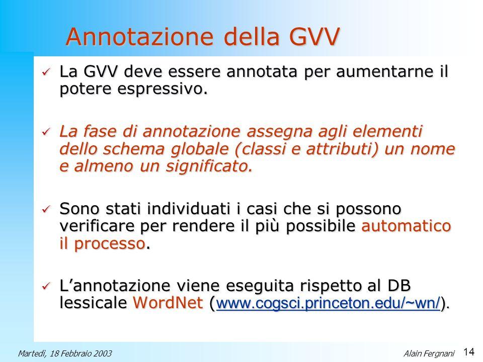 Annotazione della GVV La GVV deve essere annotata per aumentarne il potere espressivo.