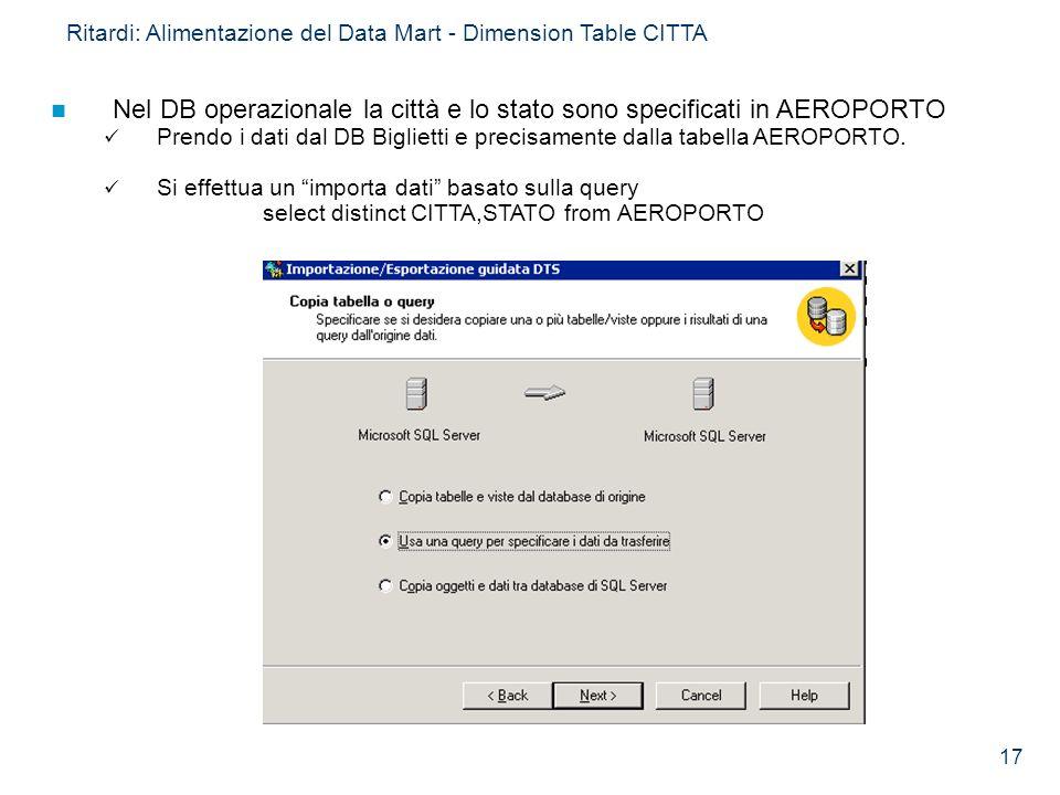 Nel DB operazionale la città e lo stato sono specificati in AEROPORTO