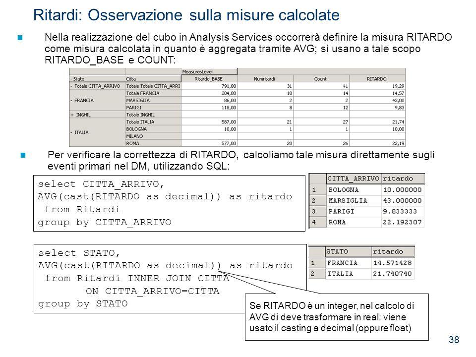 Ritardi: Osservazione sulla misure calcolate
