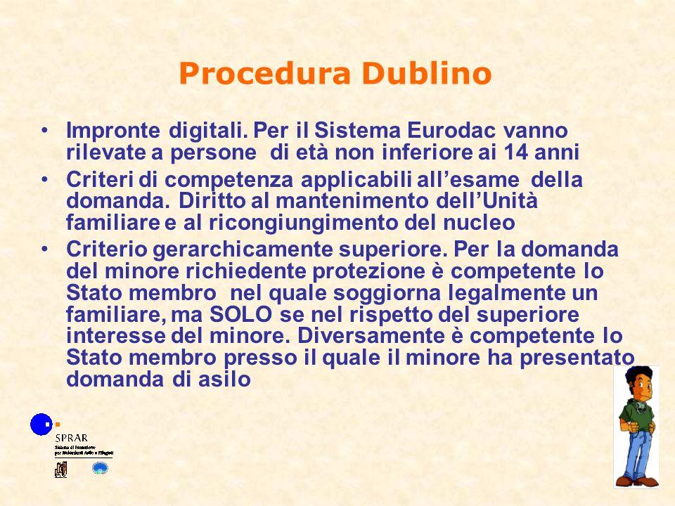 Procedura Dublino Impronte digitali. Per il Sistema Eurodac vanno rilevate a persone di età non inferiore ai 14 anni.